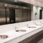 corian, countertop crack, corian repair, countertop crack repair, corian repairs, countertop crack, solid surface countertop, public bathroom, repair bathroom countertops, surface link, restroom countertops, sink replacement, sink repair, locker room countertops