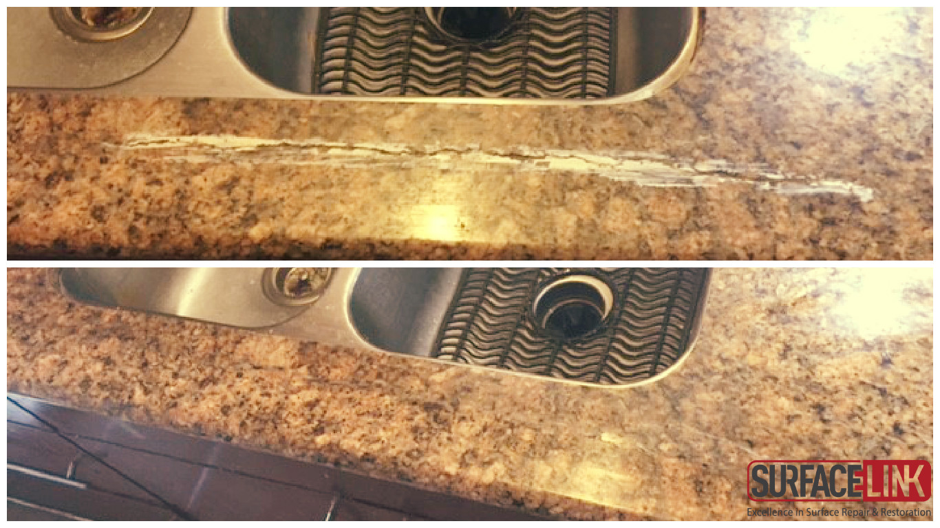 Granite Crack Repair Before And After
